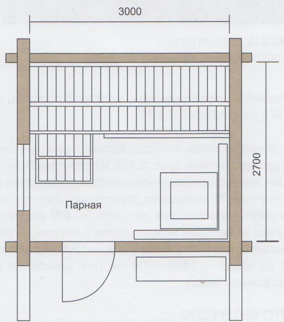 Баня общей площадью 9м2 состоящая только из парной